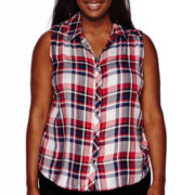 Arizona Sleeveless Americana Plaid Camp Shirt - Juniors Plus
