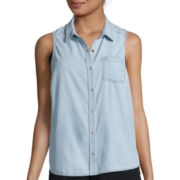 Arizona Sleeveless Split Back Denim Shirt