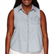 Arizona Sleeveless Split-Back Denim Camp Shirt - Juniors Plus