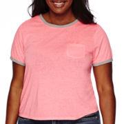 Arizona Cropped Short-Sleeve Burnout Ringer Tee - Juniors Plus