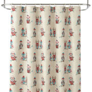 North Pole Trading Co. Holiday Owl Shower Curtain and Hooks Set