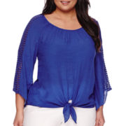 Alyx® 3/4-Sleeve Tie-Front Peasant Top - Plus