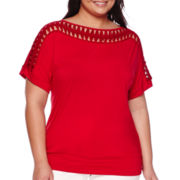 Alyx® Short-Sleeve Lattice Band Dolman Top - Plus