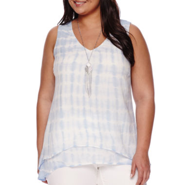 jcpenney.com | Alyx® Layered Tie Dye Tank Top with Necklace - Plus