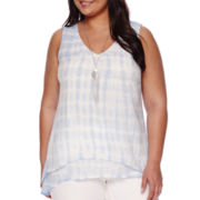 Alyx® Layered Tie Dye Tank Top with Necklace - Plus