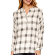 a.n.a® Long-Sleeve Plaid Blouse- Petites