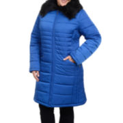 Excelled Puffer Jacket with Faux-Fur Trim - Plus
