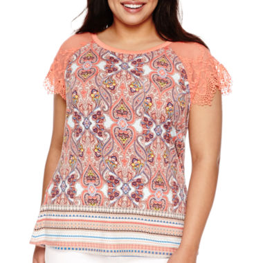 jcpenney.com | Bisou Bisou® Short-Sleeve Scallop Edge Lace Tee - Plus