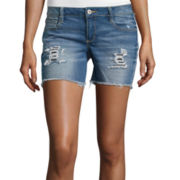 Arizona Midi Raw Cuff Denim Shorts