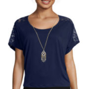 by&by Short-Sleeve Lace Shoulder Necklace Top