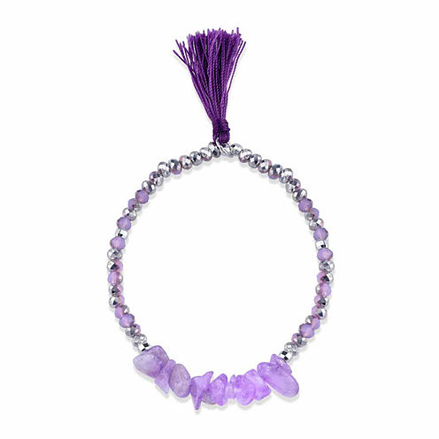 Bridge Jewelry Womens Genuine Amethyst Stretch Bracelet