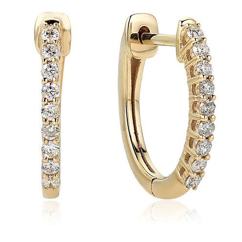 1/4 CT. T.W. White Diamond 10K Gold Hoop Earrings