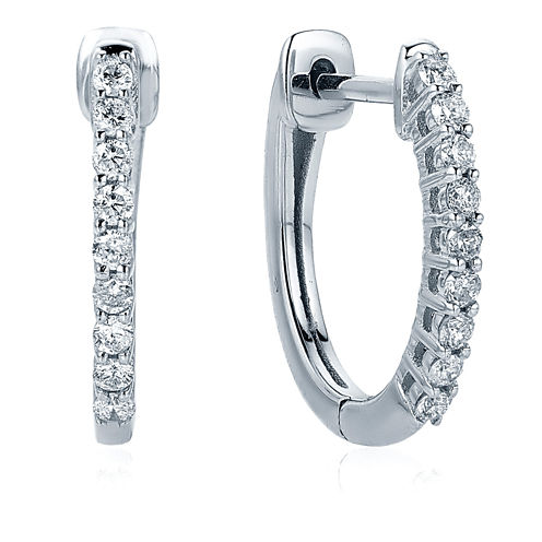 1/4 CT. T.W. White Diamond 10K Gold Hoop Earrings