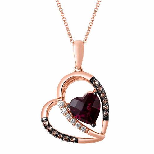 LIMITED QUANTITIES Le Vian Grand Sample Sale Genuine Rhodolite and Brown Quartz Heart Pendant Necklace