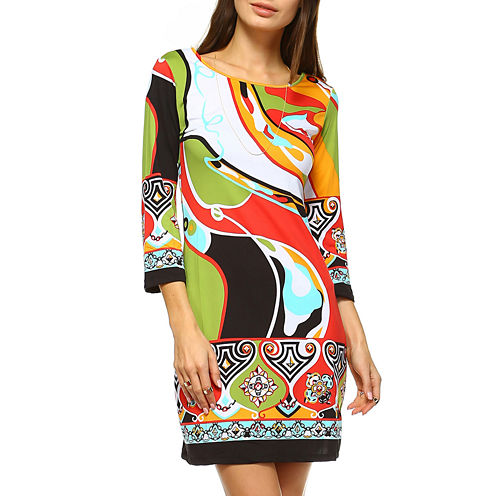White Mark Abstract Wave 3/4 Sleeve Abstract Sheath Dress