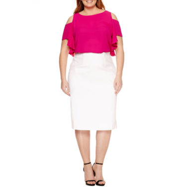 jcpenney.com | Worthington Cold Shoulder Ruffle Blouse, Exposed Side Zip Pencil Skirt - Plus