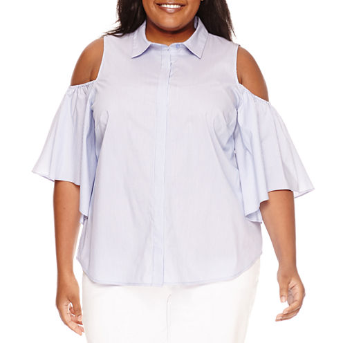 Worthington Cold Shoulder Button-Front Shirt-Plus