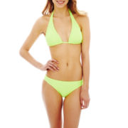 Arizona Solid Slider Halter Swim Top or Hipster Bottoms - Juniors