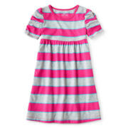 Okie Dokie® Ruched Short-Sleeve Knit Dress - Girls 12m-6y