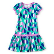 Okie Dokie® Short-Sleeve Drop-Waist Dress - Girls 12m-6y
