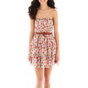 Olsenboye® Strapless Belted Smocked Print Dress