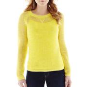 a.n.a® Crewneck Open-Stitch Sweater