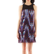 Bisou Bisou® Sleeveless Illusion-Neck Trapeze Dress
