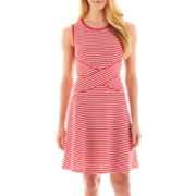 Trulli Sleeveless Striped Fit-and-Flare Dress