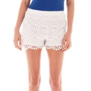 Olsenboye® Scalloped Crochet Shorts