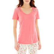 Insomniax® Short-Sleeve Lace-Trim Sleep Tee