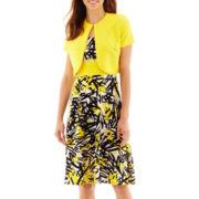 Danny & Nicole® Short-Sleeve Seamed-Waist Jacket Dress - Petite