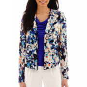 Worthington® Floral Print Piped Soft Jacket - Tall