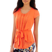 Worthington® Cap-Sleeve Belted Pleated Blouse - Tall
