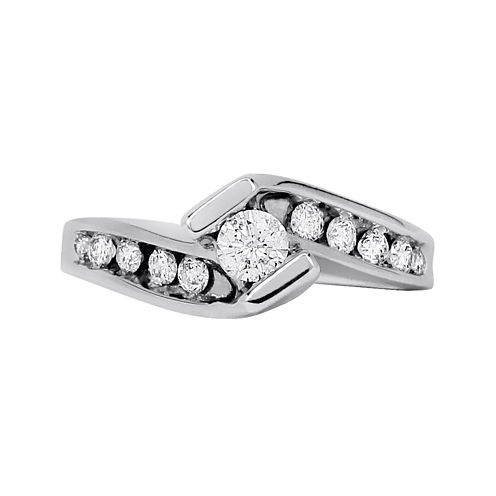 LIMITED QUANTITIES 1/2 CT. T.W. Diamond 14K White Gold Bypass Engagement Ring