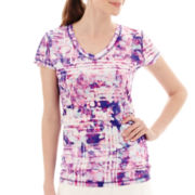 Xersion™ Short-Sleeve Print Mesh Ruched T-Shirt - Tall