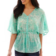a.n.a® Short-Sleeve Cinched Waist V-neck Peasant Top - Tall