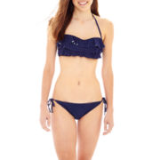 Arizona Ruffled Bandeau Swim Top or Hipster Bottoms - Juniors