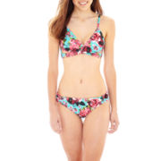 Arizona Floral Print Faux-Wrap Swim Top or Hipster Bottoms - Junior