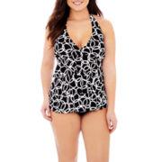 Jamaica Bay® Ruffled Halterkini Swim Top or Adjustable Bottoms - Plus