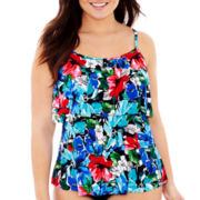 Jamaica Bay® Floral Print Triple Tier Tankini Swim Top - Plus