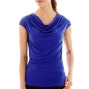 Worthington® Short-Sleeve Ruched Cowlneck Top