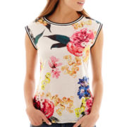 Stylus™ Sleeveless Scoopneck Floral Print Top
