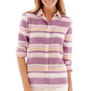 Stylus™ Long-Sleeve Button Front Voile Shirt