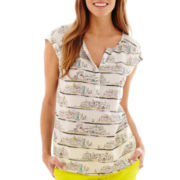 Stylus® Short-Sleeve Mesh-Shoulder Peasant Top