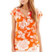 Stylus™ Short-Sleeve Floral Print Peasant Top