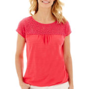 St. John's Bay® Short-Sleeve Lace Top