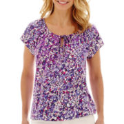 St. John's Bay® Short-Sleeve Floral Tie-Front Peasant Top