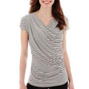 Worthington® Short-Sleeve Draped Top - Petite