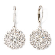 Vieste® Crystal Silver-Tone Circle Drop Earrings