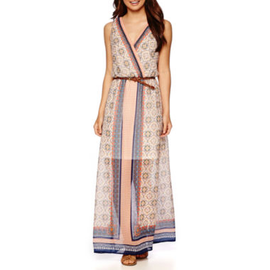 jcpenney.com | a.n.a® Sleeveless Print Belted Maxi Dress